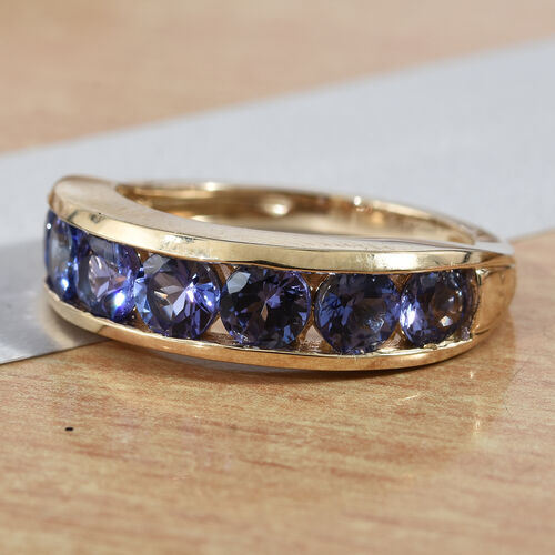 Close Out Deal- 14K Yellow Gold AA Tanzanite (Rnd) Half Eternity Ring 2.000 Ct.