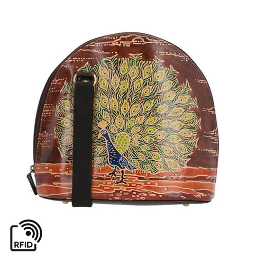 SUKRITI 100% Genuine Leather RFID Protected Peacock Round Crossbody Bag with Adjustable Shoulder Str