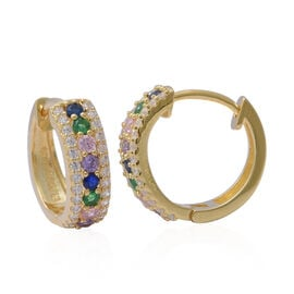 ELANZA Rainbow Simulated Diamond (Rnd), Hoop Earrings (with Clasp) in Yellow Gold Overlay Sterling S