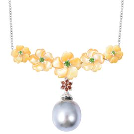 18.35 Ct Tahitian Pearl and Multi Gemstones Necklace in Rhodium Plated Sterling Silver 4.8 Grams