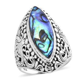 Royal Bali Collection -  Abalone Shell Ring in Sterling Silver, Silver wt 8.11 Gms