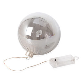 Christmas Decor - Translucent LED Bauble Light (Size 15 Cm) - Smokey Grey