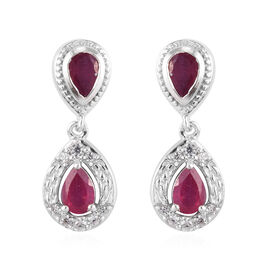 African Ruby and Natural Cambodian Zircon Dangle Earrings (with Push Bcak) in Platinum Overlay Sterl