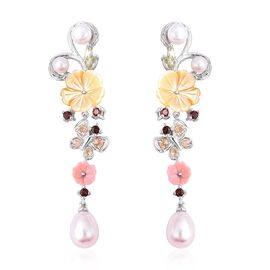 Jardin Collection - Yellow and Pink Mother of Pearl, Freshwater Pearl and Multi Gemstone Dangle Earr