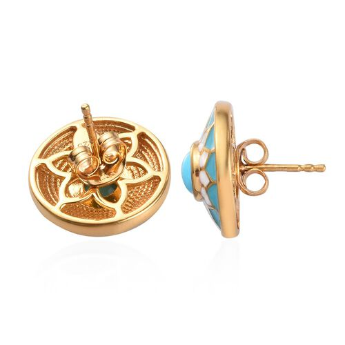 Arizona Sleeping Beauty Turquoise Enamelled Stud Earrings (with Push Back) in 14K Gold Overlay Sterling Silver 1.00 Ct.