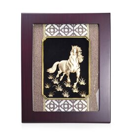 Home Decor - 24K Gold Plated Horse Wooden Frame (Size 27x34 Cm)