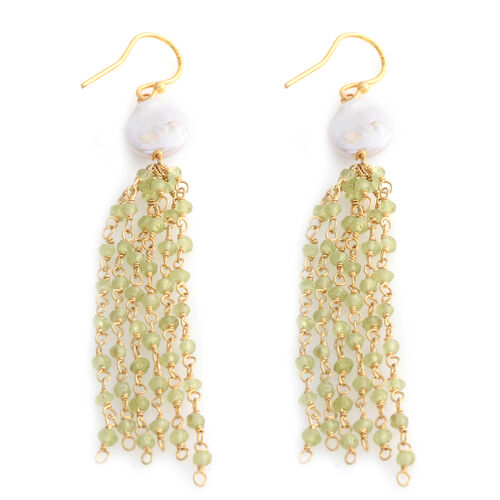 Designer Inspired- Fresh Water Pearl, Hebei Peridot Fish Hook Earrings in Sterling Silver 14.750 Ct