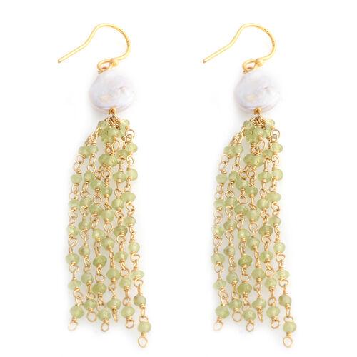 Designer Inspired- Fresh Water Pearl, Hebei Peridot Fish Hook Earrings in Sterling Silver 14.750 Ct