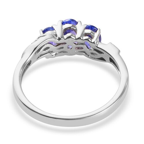 Tanzanite Ring in Platinum Overlay Sterling Silver 1.00 Ct.