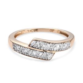 GP - 9K Yellow Gold SGL Certified Natural Diamond (G-H/I3) Ring 0.25 Ct.