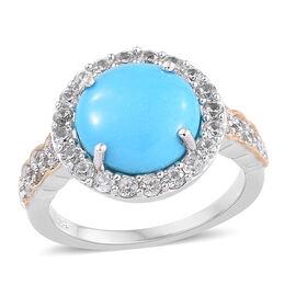 AA Arizona Sleeping Beauty Turquoise (Rnd), Natural Cambodian Zircon Ring in Platinum and Yellow Gol