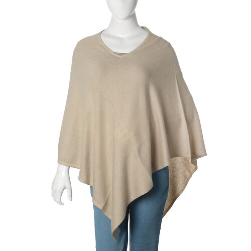 Limited Available - 100% Pashmina Wool Beige Colour Poncho (Free Size)