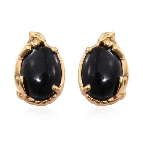 Boi Ploi Black Spinel (Ovl) Stud Earrings (with Push Back) in 14K Gold Overlay Sterling Silver 14.250 Ct.
