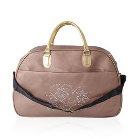 Extra Large Weekend Bag with Crystal Flower Pattern and Removable Shoulder Strap (Size 54x35x25 Cm) Bronze Colour