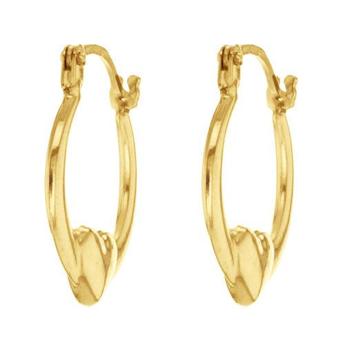 Designer Inspired 9K Yellow Gold Heart Creole Hoop Earrings (with Clasp Lock)