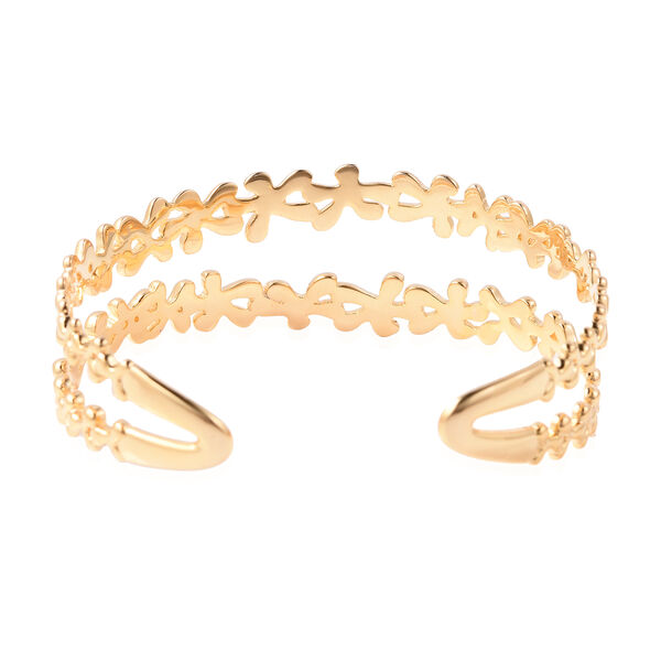 LucyQ - Splash Cuff Bangle (Size 7.5) in Yellow Gold Overlay Sterling Silver