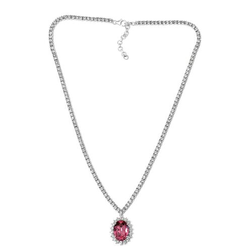 J Francis Crystal from Swarovski - Rose Colour Crystal (Ovl), White Crystal Necklace (Size 18 with 2 inch Extender) in Platinum Overlay Sterling Silver, Silver wt 31.00 Gms. Number of Swarovski 159
