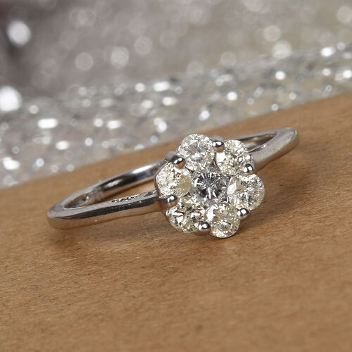 9K White Gold SGL Certified Diamond (I3/G-H) Floral Ring 0.50 Ct.