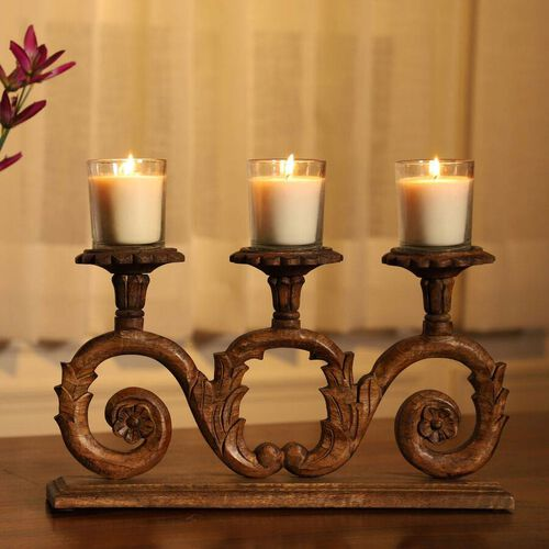 NAKKASHI Hand Carved Wooden Candle Stand (3 Candles)