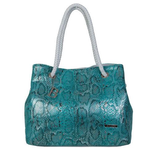 Bulaggi Collection - Jade Snake Print Shopping Bag (Size 35x30x17 Cm) - Turquoise