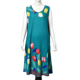 100% Cotton Tulip Pattern Sundress with Billowing Bottom (Size 105x55 Cm) - Green
