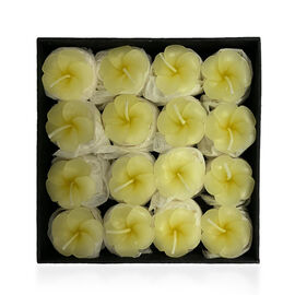 Set of 16 - Small Candles in Gift Box Plumeria Floral Aroma (Size 3x2 Cm) - Yellow