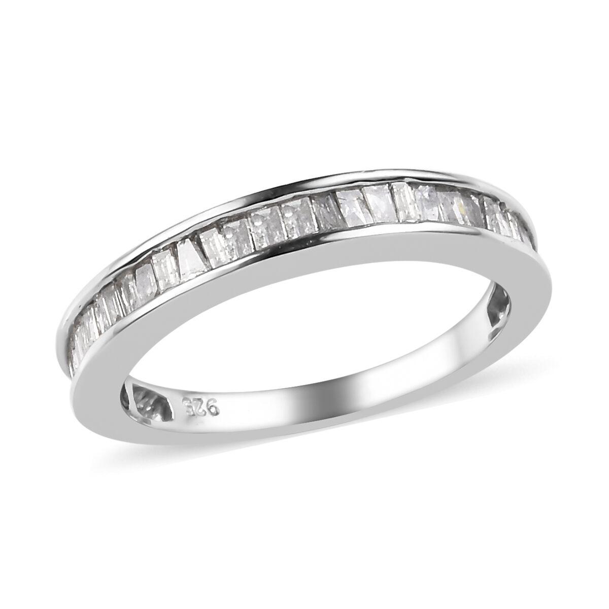 GP Blue Sapphire Anniversary Half Eternity Ring Platinum Plated Silver Diamond