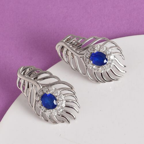 Tanzania Blue Spinel, Natural Cambodian Zircon Earrings (with Push Back) in Platinum Overlay Sterling Silver 1.25  Ct.
