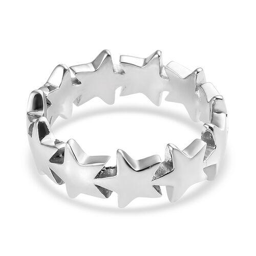 Platinum Overlay Sterling Silver Star Ring
