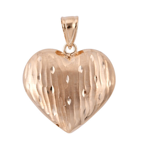 Royal Bali Collection 9K Yellow Gold Diamond Cut Heart Pendant Gold Wt 2.15 Grams