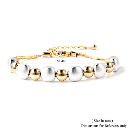 Adjustable Beads Bracelet (Size 7-8.5) in Silver and Gold Tone