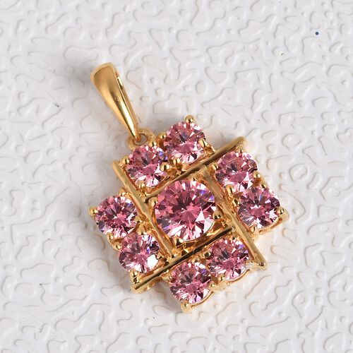 J Francis - 14K Gold Overlay Sterling Silver Pendant  Made with PINK SWAROVSKI ZIRCONIA 4.75 Ct.