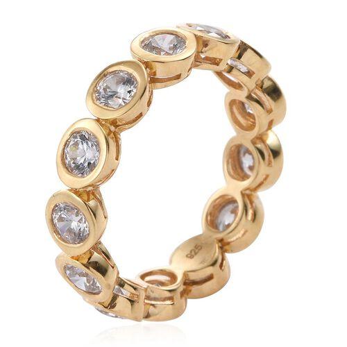 J Francis - 14K Gold Overlay Sterling Silver (Rnd) Full Eternity Ring Made with SWAROVSKI ZIRCONIA