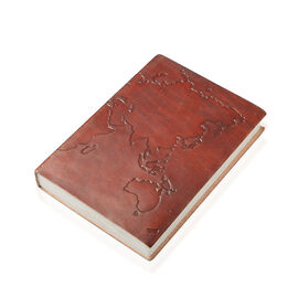 Handmade Paper Notebook with Tan Colour Genuine Leather Embossed Cover (Size 18x13 Cm)