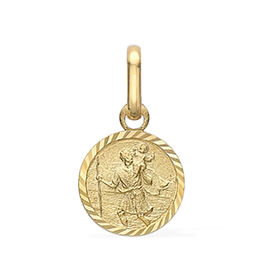 Diamond Cut Round St Christopher Pendant in 9K Yellow Gold