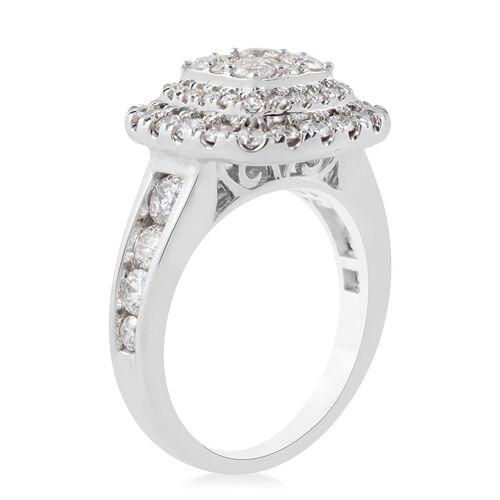14K White Gold Diamond (Rnd) (I1/G-H) Ring 2.02 Ct., Gold wt. 6.40 Gms