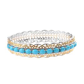 Arizona Sleeping Beauty Tuquoise (Ovl) Bangle (Size 7.5) in Platinum and Yellow Gold Overlay Sterlin