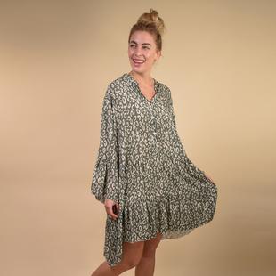 TAMSY 100% Viscosa  Leopard Print Smock Dress One Size, (Fits 8-20) - Khaki