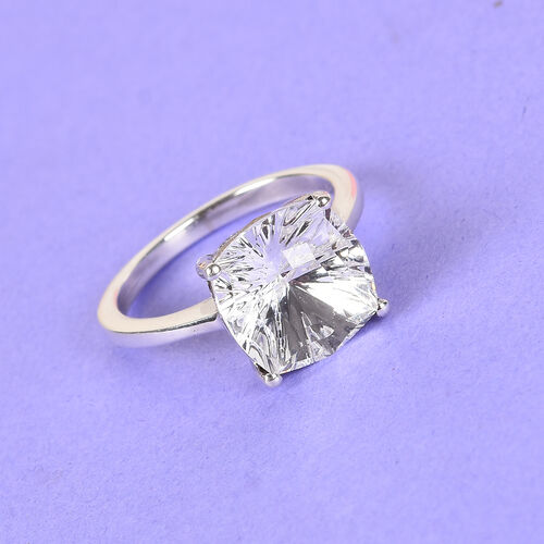J Francis Crystal from Swarovski White Colour Crystal Ring in Platinum Overlay Sterling Silver