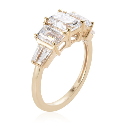 J Francis - 9K Yellow Gold (Oct 7x5 mm) Trilogy Ring Made with SWAROVSKI ZIRCONIA