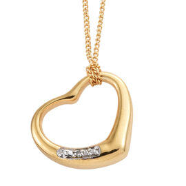 Diamond Heart Pendant with Chain (Size 18) in Gold Plated 925 Sterling Silver