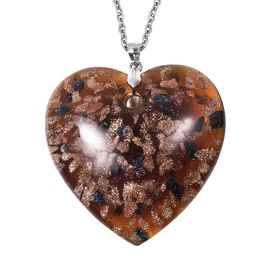 Brown Murano Style Glass (Hrt 46x46 mm) Sterling Silver Pendant with 30 Inch Stainless Steel Chain