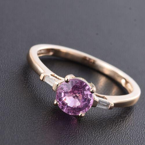 9K Yellow Gold AA Pink Sapphire (Rnd), Diamond (I3/G-H) Ring 1.000 Ct.
