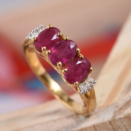 African Ruby (Ovl), Diamond Ring in 14K Gold Overlay Sterling Silver 2.000 Ct.