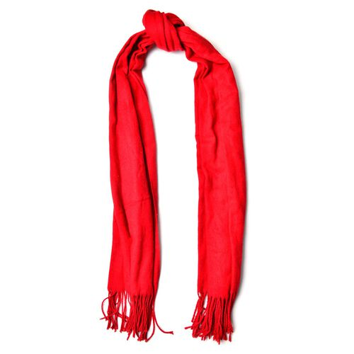 Red Colour Scarf with Handcrafted Tassels (Size 180x70 Cm)