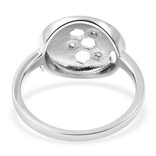 LucyQ - Natural Cambodian Zircon Honeycomb Ring in Rhodium Overlay Sterling Silver
