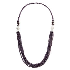 Set of 2 - Amethyst Colour Beads and White Austrian Crystal Multi Strand Necklace (Size 17, 19)