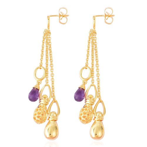 RACHEL GALLEY Mystic Collection Amethyst Dangle Earrings (with Push Back) in Yellow Gold Overlay Sterling Silver, Silver wt 14.60 Gms