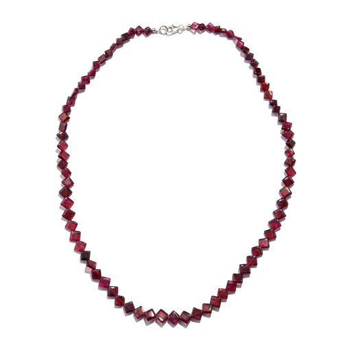 One Time Deal- Rhodolite Garnet Fancy Kite Shaped Bead Necklace (Size 18) in Rhodium Overlay Sterling Silver 70.000 Ct