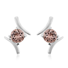 J Francis Crystal from Swarovski Rose Colour Crystal Earrings in Sterling Silver
